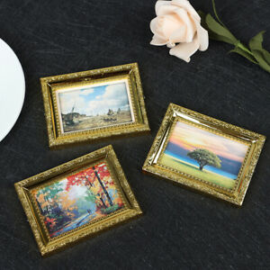 Dollhouse Miniature 1:12 Mini Decorative Accessories Antique Frame Oil Pa VnFDA