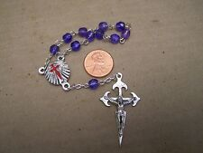 Chaplet with Purple Beads and Red Cross Centerpiece - Mexico