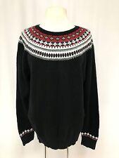 womens black red TALBOTS sweater nordic fair isle lambswool soft XL