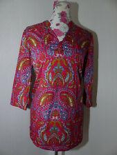 Neue PAOLA, Damen Bluse Pink Paislay Muster Gr. 44 3/4 Arm V-Ausschnitt