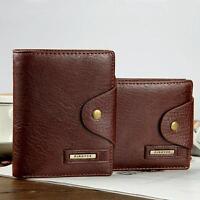 Leather men wallet coin pocket photo window wallets quality zipper money bag