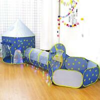3 in 1 Play Tent Kids Toddlers Tunnel Set Up Children Baby Cubby Playhouse Pool