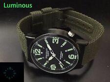 Men's Military Luminous Face Quartz Black Round Analog Watch Green Nylon Strap