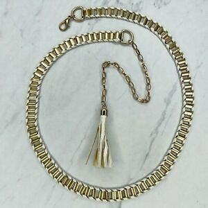 Gold Tone White Faux Leather Woven Belly Body Chain Link Belt Size Medium Large