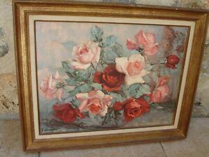 peinture tableau huile sur toile Georges DANSET (1897-1976) bouquet de Roses