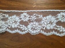 "3.5"" White Floral Lace 107+ yards per roll"
