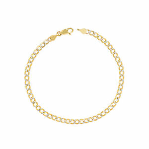 "10K Yellow Gold 3.5mm Women Diamond Cut Pave Cuban Curb Chain Bracelet Anklet 9"""