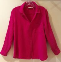 Soft Surroundings M Wine 100% Crinkle Cotton Button Down Blouse TabSleeves Worn