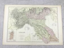 1882 Antique Map of Italy Lombardy Northern Region Old Original 19th Century