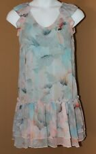 OVS Venezia Blue Peach Watercolor Floral Dress NWT 42 8 10 M