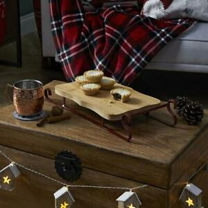 Wood large Christmas sleigh serving board dinner table cheese bread candle decor