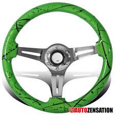 Universal 350mm Green&Black Art Chrome 3-Spoke Sport Wooden Steering Wheel