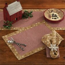 Country Christmas Let It Snow Placemat Set/2 Red Mini Check Cotton Farmhouse