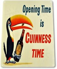 Guinness Opening Time Beer Ireland Dublin Wall Bar Pub Decor Metal Tin Sign