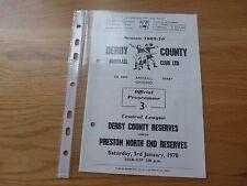 Derby County Reserves v Preston North End Reserves Football Programme 1970