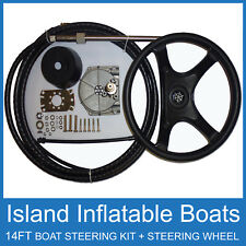 14FT Boat Steering Kit CABLE + HELM + WHEEL Teleflex Multiflex Compatible 4.26m