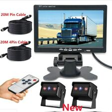 "20M 4Pin Cable Rear View Backup Camera System 7"" TFT LCD Monitor For RV Truck"