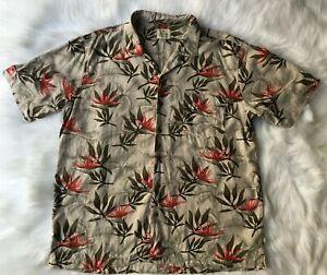 Solitude Men Hawaiian Print Aloha Wear Tiki Lounge Casual Shirt Washable Silk XL