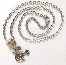 collier chaine argenté 46 cm avec pendentif hélicoptère 18x19mm