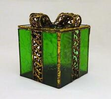 CHRISTMAS Votive Candle Holder, Green Glass Present w/ Brass Bow & Hinged Lid