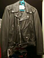 Vintage Excelled Black Leather Motorcycle Jacket Size 38 Small. Excellent