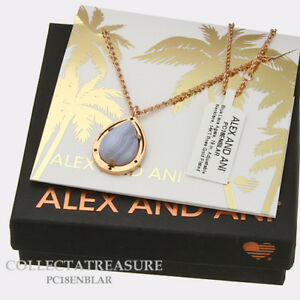"Authentic Alex and Ani Blue Lace Agate 19"" Adjustable 14kt RGP NECKLACE"