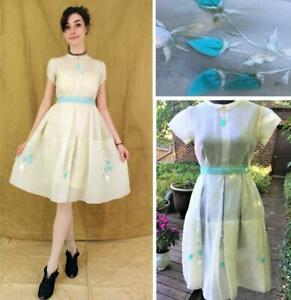GORGEOUS VINTAGE 1950s CERUTTI SHEER SILK ORGANZA DRESS WITH 3-D ROSES- Size S