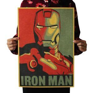 Iron Man Tony Stark Marval Movie Wall Poster Comic Decorative Kraft Paper 52*36