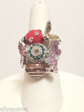 NEW KIRKS FOLLY ENCHANTED GARDEN RING SILVERTONE LADYBUG BUTTERFLY  SIZE 6
