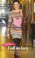 KNITTING PATTERN Ladies Striped + Heart Motif Jumper Long Sleeve Sweater Noro