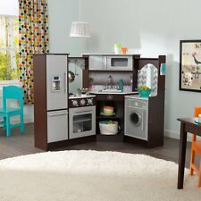 NEW KidKraft Ultimate Corner Play Kitchen With Lights And Sounds Wood Pretend