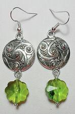 Dangle earrings - Tibetan silver + green glass flower beads,
