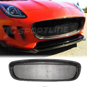 Fit For Jaguar F-type 2D 13-16 Carbon Fiber Front Bumper Grill Grille Cover Trim