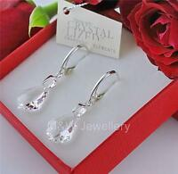 925 Sterling Silver Earrings Crystals From Swarovski® BAROQUE Crystal Clear 16mm