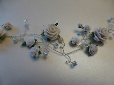 Trailing Hair vine tiara Swarovski crystals pearls white roses handmade wedding