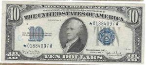 Series 1934 D $10 Silver Certificate Star Note w/Ink Graffiti