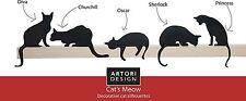 ARTORI Design Set 5 Cat Statues Figurines Silhouettes Black Door Window Decor