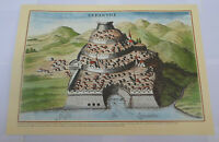 Castles of Greece Nafpaktos Venetian Castle Engraving Poster 34 x 49 cm # 2
