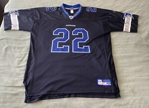 Vintage Emmitt Smith 22 Dallas Cowboys Jersey 2XL Reebok Blue Black Mesh Rare