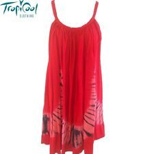 Ladies Tie Dye Summer Dress Plus Size | Red