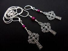 & Leverback Hook Earring Set. New. A Tibetan Silver Celtic Cross Necklace