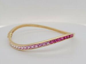 18K Yellow Gold Rainbow Sapphire Bracelet