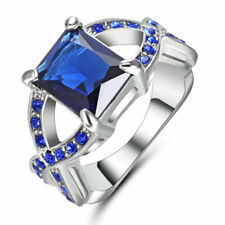 Size 7 Princess Cut sapphire Gemstore Engagement Ring White Gold Rhodium Plated