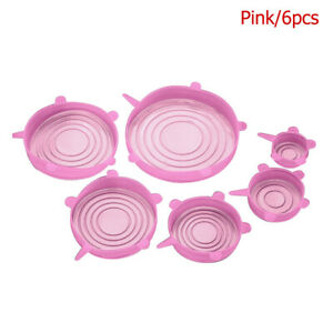 6pcs Reusable Silicone Stretch Lids Bowl Cup Microwave Food Fresh Saver Cover