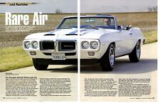 1969 PONTIAC TRANS AM RAM-AIR III CONVERTIBLE 1 OF 8 ~ NICE 5-PAGE ARTICLE / AD