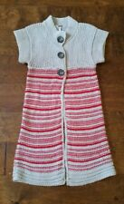 FREE PEOPLE 100% Cotton Red / Cream Long Striped Cardigan Sweater XS Button EUC