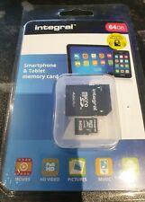 Integral 64GB micro SD XC SDXC Class 10 UHS-1 Memory Card 90MBs New