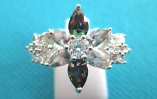 925 Sterling Silver Ring With Rainbow And White Topaz Size O 1/2, US 7. (rg1501)