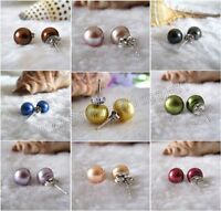 Real Natural 7-8mm Freshwater Cultured Pearl 925 Sterling Silver Stud Earrings