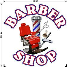 "36"" X 36""    VINYL DECAL FOR BARBER SHOP HAIR DRESSER WALL OR WINDOW WHITE TEXT"